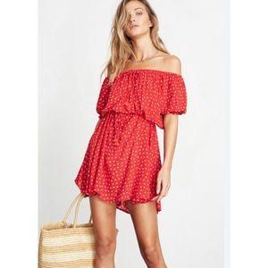 Faithfull The Brand Off Shoulder Jardim Dress Red